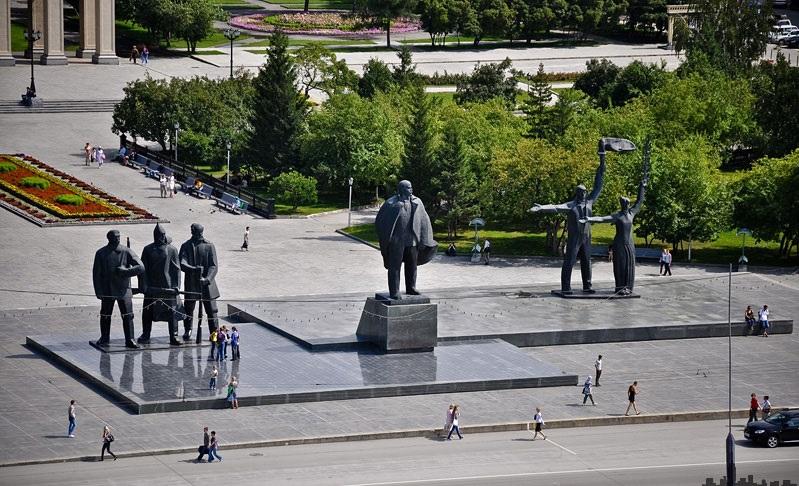 siberia pontos de interesse - A praça Lênin em Novosibirsk